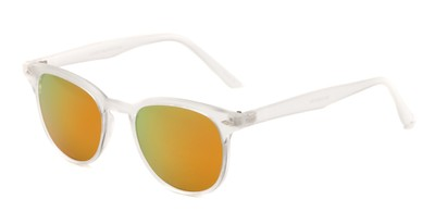Angle of Glacier #127 in Clear Frosted Frame with Yellow/Orange Mirrored Lenses, Women's and Men's Retro Square Sunglasses