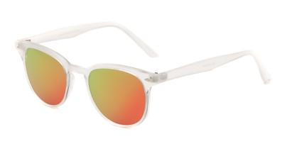Angle of Glacier #127 in Clear Frosted Frame with Pink/Orange Mirrored Lenses, Women's and Men's Retro Square Sunglasses