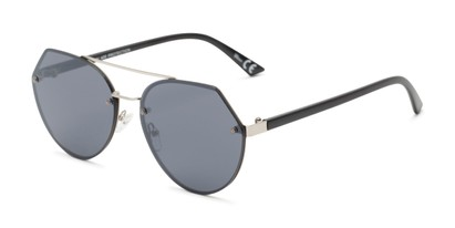Angle of Grayson #5173 in Silver Frame with Grey Lenses, Women's and Men's Round Sunglasses