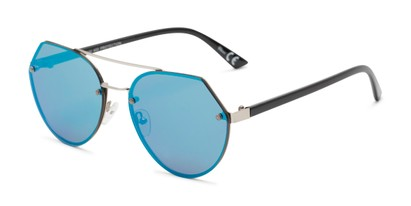 Angle of Grayson #5173 in Silver Frame with Blue Mirrored Lenses, Women's and Men's Round Sunglasses