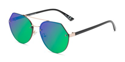 Angle of Grayson #5173 in Gold Frame with Green/Purple Mirrored Lenses, Women's and Men's Round Sunglasses