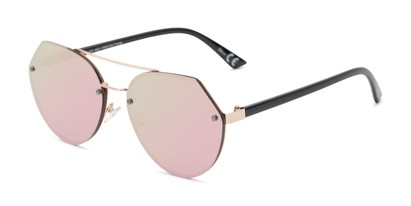 Angle of Grayson #5173 in Gold Frame with Pink Mirrored Lenses, Women's and Men's Round Sunglasses