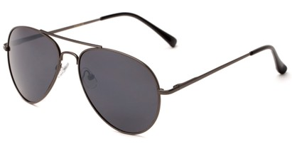 Angle of Gunnar #1212 in Grey Frame with Smoke Lenses, Women's and Men's Aviator Sunglasses