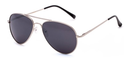 Angle of Gunnar #1212 in Silver Frame with Dark Smoke Lenses, Women's and Men's Aviator Sunglasses