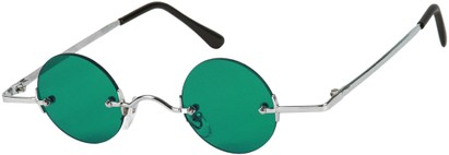 Angle of SW Round Retro Style #31050 in Silver Frame with Green Lenses, Women's and Men's