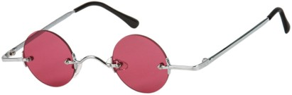 Angle of SW Round Retro Style #31050 in Silver Frame with Rose Lenses, Women's and Men's