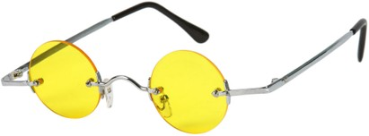 Angle of SW Round Retro Style #31050 in Silver Frame with Yellow Lenses, Women's and Men's