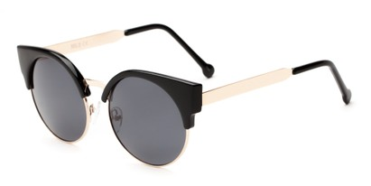 Angle of Ivy #6608 in Glossy Black/Gold Frame with Smoke Lenses, Women's Cat Eye Sunglasses