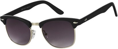 Angle of Midway #1603 in Black/Silver Frame, Women's and Men's Browline Sunglasses