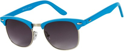 Angle of Midway #1603 in Blue/Silver Frame, Women's and Men's Browline Sunglasses