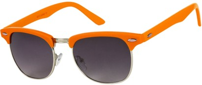 Angle of Midway #1603 in Orange/Silver Frame, Women's and Men's Browline Sunglasses