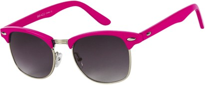 Angle of Midway #1603 in Hot Pink/Silver Frame, Women's and Men's Browline Sunglasses