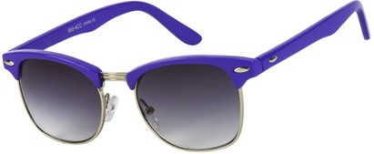 Angle of Midway #1603 in Purple/Silver Frame, Women's and Men's Browline Sunglasses