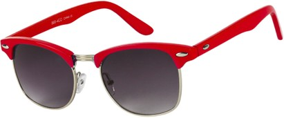 Angle of Midway #1603 in Red/Silver Frame, Women's and Men's Browline Sunglasses