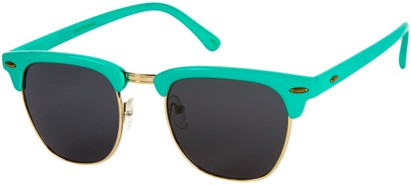 Angle of Midway #1603 in Teal Green Frame with Smoke Lenses, Women's and Men's Browline Sunglasses
