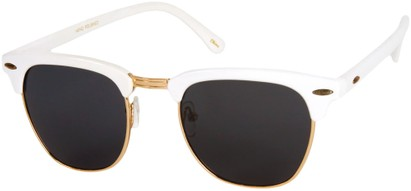 Angle of Midway #1603 in White Frame with Smoke Lenses, Women's and Men's Browline Sunglasses