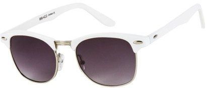 Angle of Midway #1603 in White/Silver Frame, Women's and Men's Browline Sunglasses