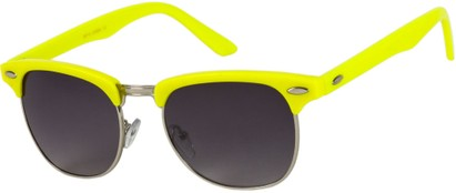 Angle of Midway #1603 in Yellow/Silver Frame, Women's and Men's Browline Sunglasses