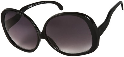 Angle of Cheyenne #9877 in Black Frame with Dark Grey Lenses, Women's Round Sunglasses