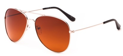Angle of Sedona #6905 in Gold Frame with Copper Lenses, Women's and Men's Aviator Sunglasses