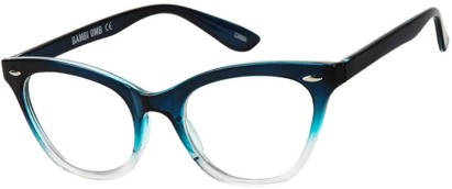 Angle of SW Clear Cat Eye Style #9155 in Blue/Clear Fade Frame, Women's and Men's