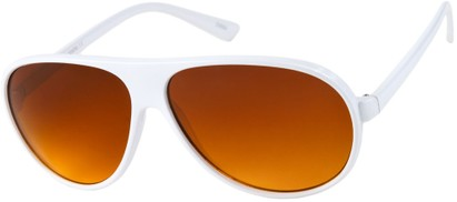 Angle of Driver #8450 in White Frame with Copper Lenses, Men's Aviator Sunglasses
