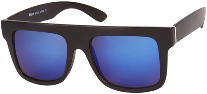 Angle of SW Mirrored Retro Style #493 in Matte Black Frame with Blue Mirrored Lenses, Women's and Men's