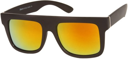 Angle of SW Mirrored Retro Style #493 in Matte Black Frame with Yellow Mirrored Lenses, Women's and Men's