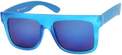 Angle of SW Mirrored Retro Style #493 in Matte Blue Frame with Blue Mirrored Lenses, Women's and Men's
