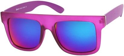 Angle of SW Mirrored Retro Style #493 in Matte Pink Frame with Blue Mirrored Lenses, Women's and Men's