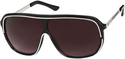 Angle of SW Oversized Retro Aviator Style #9916 in Black/White Frame with Smoke Lenses, Women's and Men's