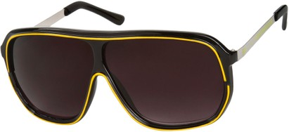 Angle of SW Oversized Retro Aviator Style #9916 in Black/Yellow Frame with Smoke Lenses, Women's and Men's