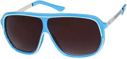 Angle of SW Oversized Retro Aviator Style #9916 in Blue/White Frame with Smoke Lenses, Women's and Men's