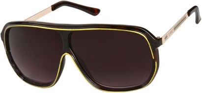 Angle of SW Oversized Retro Aviator Style #9916 in Dark Tortoise/Gold Frame with Smoke Lenses, Women's and Men's