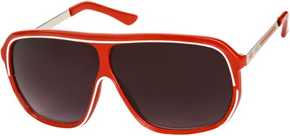 Angle of SW Oversized Retro Aviator Style #9916 in Red/White Frame with Smoke Lenses, Women's and Men's