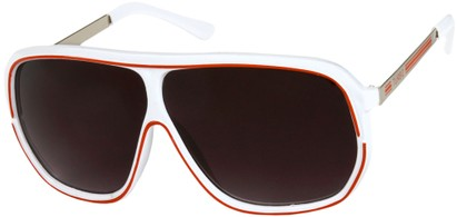 Angle of SW Oversized Retro Aviator Style #9916 in White/Red Frame with Smoke Lenses, Women's and Men's