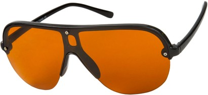 Angle of SW Shield Driving Style #9788 in Black Frame with Copper Lenses, Women's and Men's