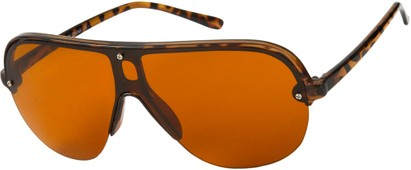 Angle of SW Shield Driving Style #9788 in Tortoise Frame with Copper Lenses, Women's and Men's