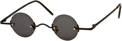 Angle of SW Round Retro Style #31050 in Black Frame with Dark Smoke Lenses, Women's and Men's