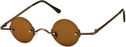 Angle of SW Round Retro Style #31050 in Bronze Frame with Amber Lenses, Women's and Men's