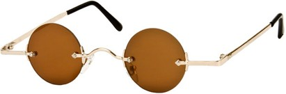 Angle of SW Round Retro Style #31050 in Gold Frame with Amber Lenses, Women's and Men's