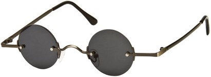 Angle of SW Round Retro Style #31050 in Grey Frame with Dark Smoke Lenses, Women's and Men's