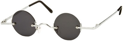 Angle of SW Round Retro Style #31050 in Silver Frame with Dark Smoke Lenses, Women's and Men's