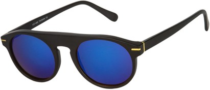 Angle of SW Mirrored Style #1291 in Black Frame with Blue Mirrored Lenses, Women's and Men's