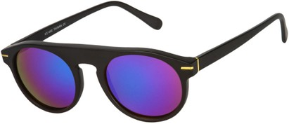 Angle of SW Mirrored Style #1291 in Black Frame with Purple/Blue Mirrored Lenses, Women's and Men's