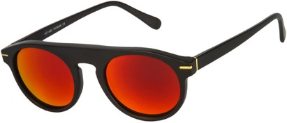 Angle of SW Mirrored Style #1291 in Black Frame with Red Mirrored Lenses, Women's and Men's