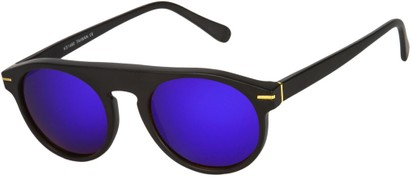 Angle of SW Mirrored Style #1291 in Black Frame with Purple Mirrored Lenses, Women's and Men's