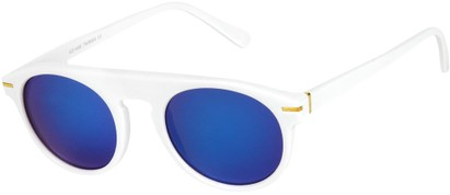 Angle of SW Mirrored Style #1291 in White Frame with Blue Mirrored Lenses, Women's and Men's