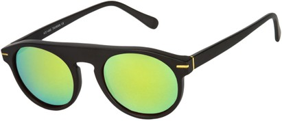 Angle of SW Mirrored Style #1291 in Black Frame with Yellow Mirrored Lenses, Women's and Men's