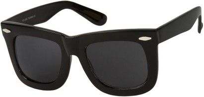 Angle of SW Oversized Retro Style #1877 in Glossy Black Frame with Smoke Lenses, Women's and Men's